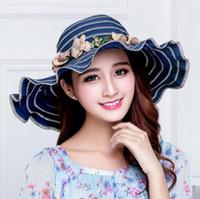 2da5c86159687 Las mujeres al por mayor sombreros del sol del verano con la guirnalda  bowknot sombreros de