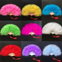2018 Color Thicken Fluffy Folding Marabou Feather Hand Fan W...