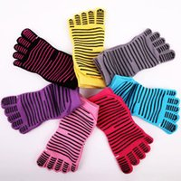 New Women Yoga Socks Ladies Sport Pilates Socks Five fingers silicone dots anti-slip Ballet Dance