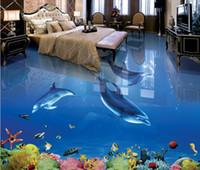Pisos de PVC 3D Impermeable Murales autoadhesivos de papel de pared Dolphin 3D Azulejos de piso 3D para baños
