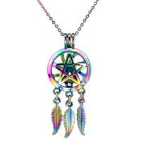 C729 Arcobaleno Colore Dream Catcher Pentagram Foglia Perle Cage Ciondolo Olio Essenziale Diffusore Aromaterapia Perla Gabbia Collana Ciondolo Medaglione