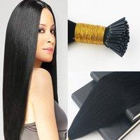 퓨어 컬러 1 # 100G 레미 브라질 인모 I- 팁 풀 세트 Prebonded Hair Extensions 무료 배송