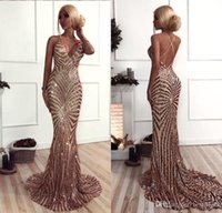 Rose Gold Mermaid Sequined Prom Dresses Deep V Neck Sexy Bac...