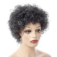 WW2-06 Sentetik Kısa Saç Afro Kinky Kıvırcık Peruk Kadınlar için Siyah / gri Saç Yüksek Sıcaklık Fiber