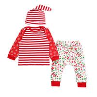 아기 크리스마스 의상 새로운 태어난 된 아기 소녀 소년 옷 코 튼 스트라이프 티셔츠 탑 팬츠 모자 3PCS 유아 유아 의류 세트 크리스마스 의상