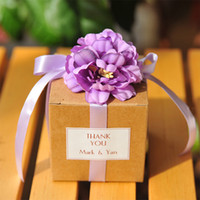 50pcs Kraft paper Beautiful romantic rose flowers candy box ...