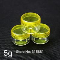도매 - 플라스틱 화장품 용기, 노란색 크림 항아리, 샘플 항아리 5g