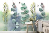 Пользовательские гостиная обои Акварель мультфильм листья фото обои телевизор фон обои 3d