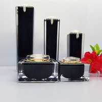 Square Black Acrylic Lotion Cream Cosmetic Bottles Luxury Sk...