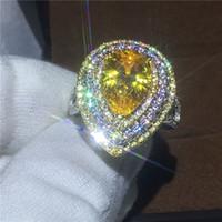 Vecalon Роскошные обручальное кольцо для женщин грушевого разрезом 6СТ 5A циркон CZ Белый Желтое золото Заполненные кольца Женщина помолвки