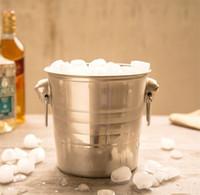 Edelstahl Nichtmagnetisch Silbrig Eis Eimer Doppelohr Design Von Tiger Head Bar Barrel Falten Bier Eimer Exquisite 27