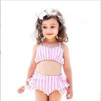 Summer Baby Girls Two- piece Striped Pink Swimwear Kids Swims...