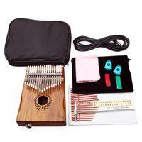 Marka Yeni 17 Tuşları EQ Kalimba Mbira Calimba Katı Akasya Başparmak Piyano Bağlantı Hoparlör Elektrik Pickup ile Çantası + 3 M Kablo