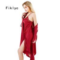 Fiklyc 브랜드 여름 잠옷 라운지 레이스 새틴 여성 잠옷 잠옷 두 세트 가운 가운 세트 잠옷