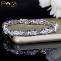Pera de lujo nupcial boda CZ joyería claro blanco piedra conectado moda plata esterlina pulseras brazalete para dama de honor B036