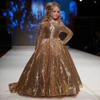 Shinning Gold Sequins Jewel Sleeves Flower Girl Dresses Girl...