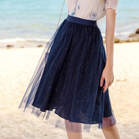 New silver Sequin dot skirts Summer female chic Tulle skirts...