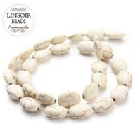 Linsoir 10 * 15mmの楕円形の純正白ターコイズビーズの緩い天然石のビーズのためのルース天然石ビーズのための宝石類のビーズアクセサリー40cm /ストランド