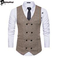 Урожай коричневый твидовые жилеты шерсть елочка британский стиль на заказ мужской костюм портной slim fit Blazer свадебные костюмы для мужчин