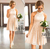 Champagne Lace Bridesmaid Dresses 2021 Country Knee Length With Pearls Jewel Neck Zipper Back Western Maid of Honor Gown Custom Made