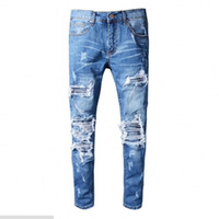 2018 Jeans di alta qualità Srping Biker Denim Stripe Jeans Men Los Angeles Street Fashion Hole Jeans Black Jeans Slim Skinny Pants