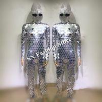 DC80 бальный зал светодиодные костюмы питания зеркало робот костюм механический танец сценическое шоу носит одеть подиум платья модели dj бар party performance