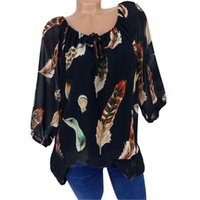 2018 Spring autumn S- 5XL Plus Size V- neck Blouse Fashion Wom...