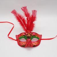 Lumineszierende Gefiederte Maske LED Glitzernde maske Prinzessin Venezianische Halbe Gesichtsmaske Für Maskerade Cosplay Nachtclub Party Heiligabend