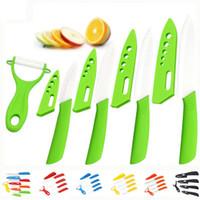 """العلامة التجارية عالية الجودة سكين مطبخ سكين السيراميك تعيين الخزف سكين مجموعة 3 """"4"""" 5 """"6"""" بوصة + مقشرة + الاكريليك الوقوف المطبخ"""