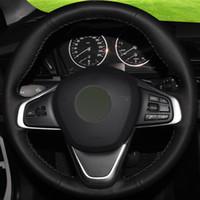 Couverture de volant de voiture en cuir véritable noir cousu à la main bricolage pour BMW 220i 218i 225xe