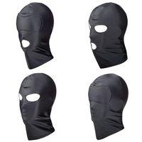 Flexível Cabeça Feminina Máscara Sex Hood Blindfold para Swinger Grupo Festa Sexual BDSM Bondage Fantasias Fetiche Kinky Jogar Preto BXA469