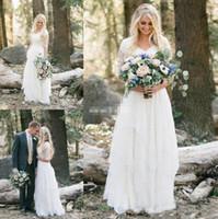 2018 Western Country Bohemian Wedding Vestidos de Lace Chiffon modesto V Neck Meios Mangas Longos Vestidos Bridais Plus Size Vestido para Casamento