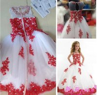 공 Gowntoddler 보석 흰색 얇은 명주 그물과 빨간색 레이스 아플리케 크리스탈 구슬과 함께 여자 꽃 여자 여자의 드레스에 대 한 미인 드레스