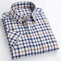 Camisas informales Oxford para hombres Camisas sociales de diseño a cuadros para hombres Camisas sociales para hombres de algodón 100% de manga corta Camisas con cuello vuelto