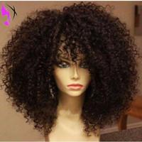 Top qualité synthétique résistant à la chaleur frontale perruque avec frange naturelle hairline Brésilien Kinky Curly perruques pour les femmes