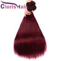 Бордовый переплетения 99J Малайзийские Виргинские шелковистая прямая человеческих волос норки пучки 3шт цветные Вино красное шить в наращивание волос предложения