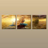 Enmarcado / sin marco caliente moderna de la lona de arte contemporáneo de la pared impresiones Pintura abstracta de la fantasía de la sirena Imagen 3 pieza Sala Decoración AB198