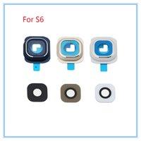 10 sätze / los Für Samsung Galaxy S6 S6 rand Kameraobjektiv Rückfahrkamera Rahmen + Glas Full Set Abdeckung Kreis Ring mit aufkleber