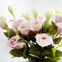 7pcs / lot Fleurs artificielles européennes 3Heads Faux Eustoma Gradiflorus Lisianthus pour l'automne automne mariage Accueil Table Décoration Centerpieces