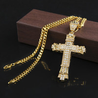 Retro Gold Cross Charm Pendant Full Ice Out CZ Simulated Dia...
