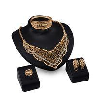 Dubai 18K Gold Beedant Tassels Ожерелье наборы Мода Африканский бриллиант Свадебные свадебные ювелирные изделия (ожерелье + браслет + серьги + кольцо)