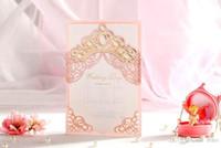 Tarjetas de invitaciones de boda del corte del láser Personalizadas Real Hollow Tarjetas de boda Invitaciones Suministros de boda Libre impresión personalizada Caliente