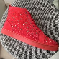 New 2018 Mens Womens Star Rhinestones With Red Suede Leather...