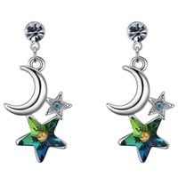 Sterne Kristalle von Swarovski Elements Moon Dangle Ohrringe Modeschmuck Damen Accessoires Party Geschenk Weißgold vergoldet 26286