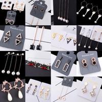2018 personalidad de la moda niña Señora Pearl cristal de acero de titanio pendientes de la borla triángulo circular geométrico pendientes mezclar 10 estilos 10 pares