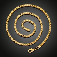 2018 Fashion Men Women 18k Gold plated Necklace 3mm 4mm 24in...