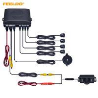 FEELDO Car 4-Sensor Rearview Sensor de estacionamiento + Matrícula Cámara Video Sistema de sensor de estacionamiento inverso # 1550