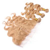 Vague de corps # 27 Fraise Blonde Brésilienne Vierge Tisse de Cheveux Humains 3Pcs Bundle Offres avec Miel Blonde 13x4 Dentelle Frontale Fermeture 4Pcs Lot