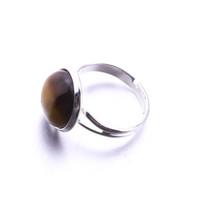 Naturstein 12mm Runder Opal Rosa Kristall Einstellbarer Ring Markenschmuck