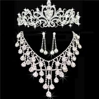 2019 Nuevo Bling Bling Bling Accesorios de Boda Bridal Tiaras Neeklace Pendiente Cristal Rhinestone Haceros de Rhinestone Mujeres Crowns Jewelry